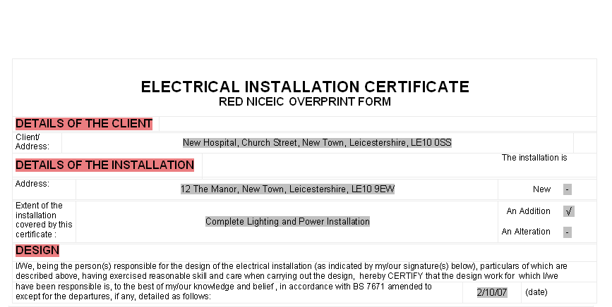 Electrical contractors office 2007 overview below screenshot of red niceic overprint form in microsoft word roll the mouse over to see the form overprinted onto an niceic certificate yelopaper Gallery