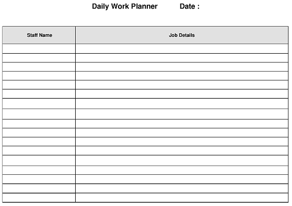 daily large jobs work planner daily small jobs work planner daily ...