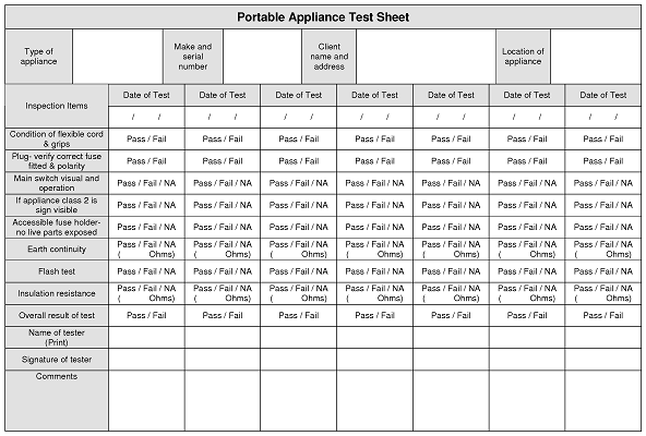 Pin log sheet template for testing work on pinterest for Pat testing record sheet template
